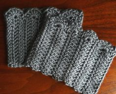 Crochet Scalloped edge boot cuffs, using a free pattern on Ravelry.com! I'm making mine in olive green Debbie Bliss Rialto Aran :)