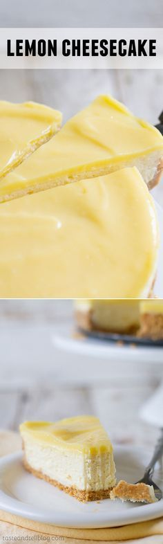 Creamy and rich, this Lemon Cheesecake has a cookie crust and is topped with a tart lemon curd.:Creamy and rich, this Lemon Cheesecake has a cookie crust and is topped with a tart lemon curd. Lemon Desserts, Lemon Recipes, No Bake Desserts, Just Desserts, Sweet Recipes, Delicious Desserts, Dessert Recipes, Yummy Food, Best Cheesecake