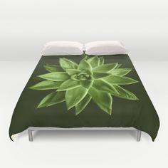 Duvet Cover by PLdesign, Photograph of a succulent Echeveria agavoides flower colored in greenery pantone color.