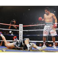 """View Larger +  Mouse over to zoom  Chat with a Customer Service Representative now.  Manny Pacquiao Autographed """"Pacman"""" Knock Down Horizontal 16x20 Photo"""