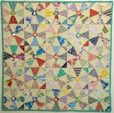 Wall Art Quilt from Hollyhock Quilts - Recycled Vintage Fabric, Feedsacks, Buttons - Hand Quilted - Kaleidoscope Pattern w/ Applique Flowers
