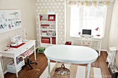 love that polka dot wall paper!  such a fun, happy space