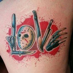 Horror Movie Tattoos, Spooky Tattoos, 13 Tattoos, Dream Tattoos, Future Tattoos, Unique Tattoos, Body Art Tattoos, Horror Movies, Sweet Tattoos