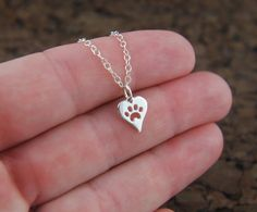 Heart shaped paw print charm necklace in by jersey608jewelry, $22.00