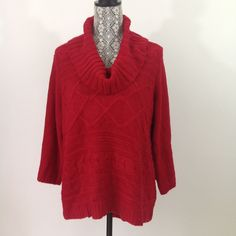 Style&Co Womens Sweater Size L Red Solid Chunky Knit Cowl Neck Top Acrylic Vegan #Styleco #CowlNeck