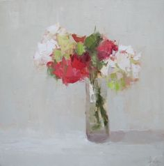 Barbara Flowers, 'Small Bouquet with Pink', Oil on Canvas, 24x24 - Anne Irwin Fine Art