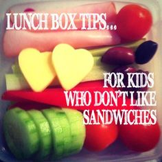 Some great lunch box suggestions for kiddos who don't like sandwiches!