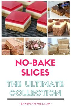 No-bake slices Say hello to the most delicious collection of the best no-bake slices ever! With everything from Mars Bar Slice to Jelly Slice, Salted Caramel Cheesecake Slice to Rocky Road. Bring on the no-bake yumminess! Köstliche Desserts, Delicious Desserts, Dessert Recipes, Yummy Food, Tray Bake Recipes, Baking Recipes, Baking Tips, Baking Ideas, Chocolates