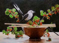 "Exquisite still life I found on the FASO Daily Art Show http://dailyartshow.faso.com/dailyartshow  Still Life with Flycatcher by Wes Hyde Oil ~ 18"" x 24"""