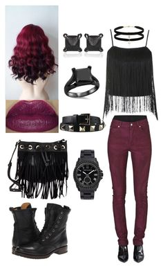 """""""Black and Burgundy"""" by attemptingcutestuff ❤ liked on Polyvore featuring Topshop, Cheap Monday, Valentino, Frye, Deux Lux, Eva Fehren and Vince Camuto"""