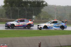 Touring Car racing at Road America as Toby Grahovec's BMW tries to hold onto traction while James Clay's plows through a puddle Optima Battery, Road Racing, Car Ins, Touring, Race Cars, Behind The Scenes, Bmw, America, Usa