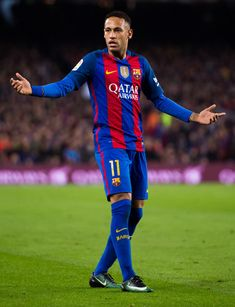 Neymar Santos Jr of FC Barcelona gestures during the La Liga match between FC Barcelona and Real Madrid CF at Camp Nou stadium on December 3, 2016 in Barcelona, Catalonia.