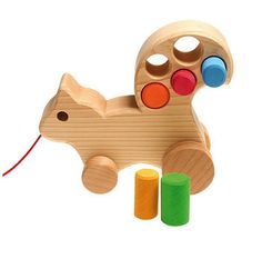 Wooden Squirrel Pull Along Toy