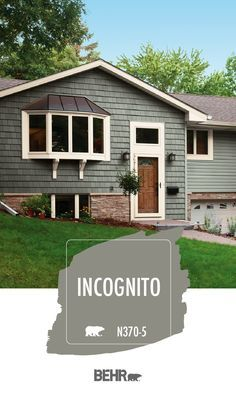 For a dark and moody gray thats sure to stand out turn to Behr Paint in Incognito. This exterior home paint color adds a modern twist to a classic neutral hue. Click below for full color details to learn more. Green Exterior Paints, Exterior Paint Colors For House, Grey Exterior, Paint Colors For Home, Exterior Colors, Gray Exterior Houses, Outdoor House Colors, Green House Paint, House Exterior Color Schemes