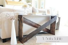 X Sofa Table Tutorial, this would be perfect behind the futon, but longer.