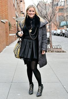 Leather pleats gave this ensemble a girlie-gone-edgy finish – embellished booties sealed the deal. #NYFW #StreetStyle