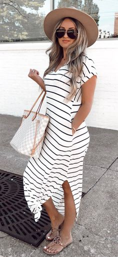 black and white striped short-sleeved dress #summer #outfits