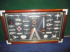 "Vintage Framed Nautical Knots Display Shadow Box 28 1/2"" x 17"""