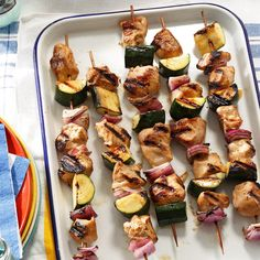 Marinated Chicken & Zucchini Kabobs Recipe -These tasty (and healthy!) kabobs are a family favorite. You can change them up with turkey tenderloins and other veggies, like summery squash or sweet bell peppers. —Tammy Slade, Stansbury Park, Utah