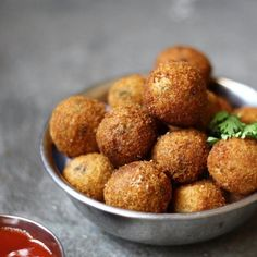Crispy fried fish balls. Serve them as an appetizer or put them into a sweet, tangy sauce to serve on the side.