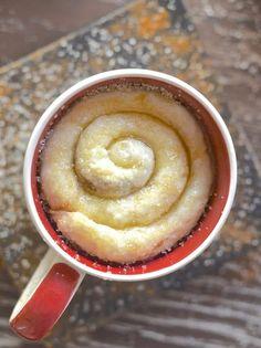 cinnamon roll in a mug