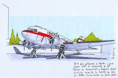 Old DC3 on exhibition at Málaga Airport Museum. Black and colour ink pen. Started 2006, finished 2009.