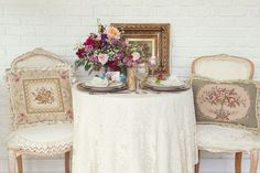 The perfect table setting for the bride and groom. Sweet florals by Occasions by Emily, Styling and vintage elements by Inn on Church / Angel Biz Consulting, Photography by Corey Cagle  #vintage #sweethearttable #wedding #ncwedding #antiques #hendersonvillenc #destinationwedding