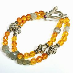 Only $7.99! - High Shine Gold Luster Topaz Faceted Glass Beads & Semi-Opaque Smokey Quartz Coin Beads 2 Row Bracelet w/Ornate Silver Tibetan Marquise Spacers - Under $10 2 Strand Bracelet - FREE USA SHIPPING https://www.etsy.com/listing/448999264/gold-luster-topaz-faceted-glass-beads