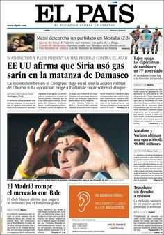 Los Titulares y Portadas de Noticias Destacadas Españolas del 2 de Septiembre de 2013 del Diario El País ¿Que le pareció esta Portada de este Diario Español?