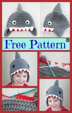 Cute Crochet Shark Hat Free Pattern #freecrochetpatterns #crochethat