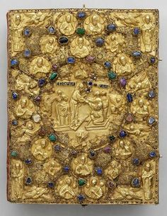 Covered gospel Moscow, circa 1415. Gold, precious stones, pearls, parchment; chasing, filigree. Came from the Patriarch's Palace in 1920.