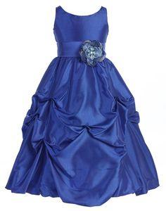 Amazon.com: Wonder Girl Flower S-Band Taffeta Long Tea Length Flower Girl Dress Sizes 2 to 14: Special Occasion Dresses: Clothing