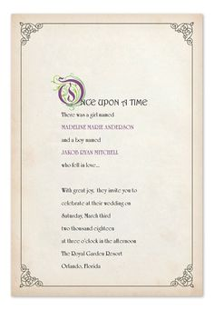 Fairy tale wedding invitation wording from invitationsbydawn story book ending stopboris Image collections