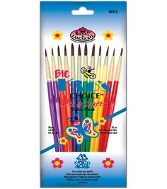 Wholesale Big Kids Choice Arts & Crafts Brush Set - 12 Pack (Case of Crafts For Girls, Fun Crafts, Arts And Crafts, Painting For Kids, Art For Kids, Craft Packaging, Pelo Natural, Joanns Fabric And Crafts, Paint Brushes