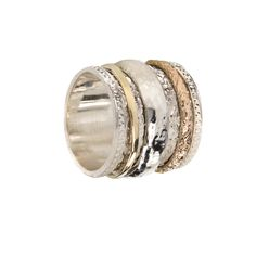9 KT Gold & Sterling Silver Flower Pattern MeditationRing (spinning ring)with one Yellow and one Rose Gold spinning band  Ring Width11mm