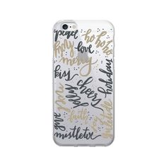 OTM Artist Prints Clear Phone Case, Holiday Wishes Gold - iPhone 6/6S Plus