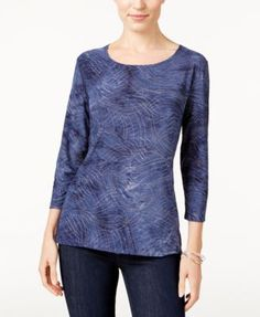 Jm Collection Tie-Dyed Embellished Jacquard Top, Created for Macy's - Blue XS