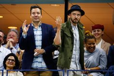 "Justin Timberlake Photos Photos - TV Personality Jimmy Fallon and singer and actor Justin Timberlake dance to ""Single Ladies""  during the Men's Singles Quarterfinals match between Richard Gasquet of France and Roger Federer of Switzerland on Day Ten of the 2015 US Open at the USTA Billie Jean King National Tennis Center on September 9, 2015 in the Flushing neighborhood of the Queens borough of New York City. - 2015 U.S. Open - Day 10"