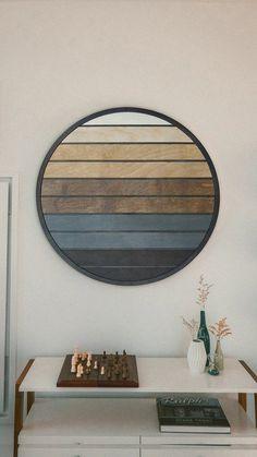 Sunset- Geometric Wood Wall Hanging- Round Modern Wood Wall Art – Other Furniture- Modern Wood Wall Art Rustic Wood Walls, Rustic Wall Art, Wood Wall Decor, Wooden Walls, Wood Wall Art, Wall Mural, Wooden Wall Art Panels, Pallet Wall Art, Diy Wall Art