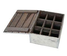 Caja de madera de paulonia Vintage - blanco
