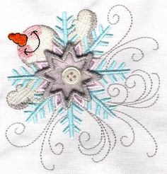 Threadsketches' set Chance of Snow - Christmas machine embroidery design, snowman snowflake