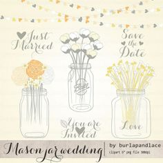 Mason Jar with Flowers Clip Art