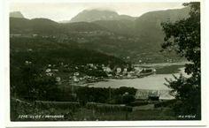 Hordaland fylke Ulvik i Hardanger. Oversikt. Utg K. Knudsen, Bergen , stpl. 1954
