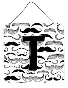 Letter T Moustache Initial Wall or Door Hanging Prints CJ2009-TDS66