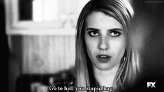 ahs, american horror story, emma roberts, gif, quote, quotes, witch, black & white, coven, madison montgomery