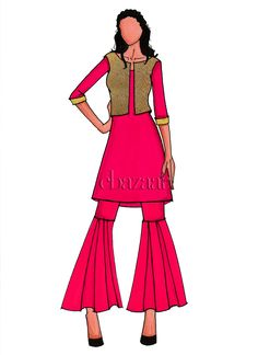 Indo Western Outfits: Buy Indo Western Dresses For Women Western Dresses For Women, Western Outfits, Diy Fashion Dresses, Indowestern Gowns, Indian Jackets, Printed Gowns, Dress Drawing, Pink Jacket, Indian Designer Wear