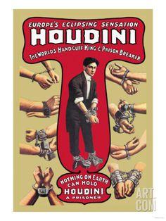 Houdini: The World's Handcuff King and Prison Breaker Premium Poster at Art.com