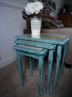 Lady Onslow nest of three tables with Queen Anne Style legs in fabulous distressed bluey-hues and pretty wallpaper under glass tops is guaranteed