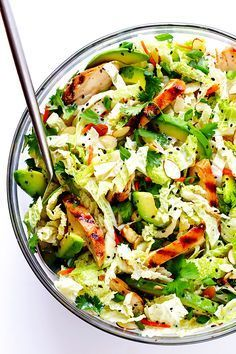 This Asian Chicken Chopped Salad recipe is quick and easy to make, packed with fresh ingredients and zesty chicken, and tossed with a heavenly creamy sesame ginger vinaigrette. So delicious!! | http://gimmesomeoven.com