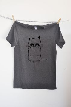 grumpy cat gray tshirt  mens by littleleestudios on Etsy, $20.00